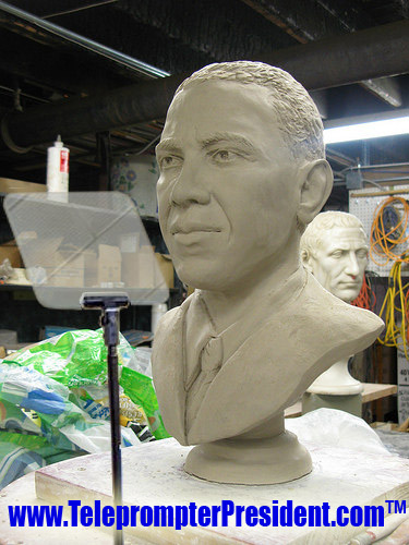 Bust of President Obama being prepared for placement in the Senate wing of the Capitol.