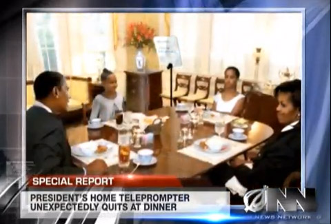 Obama's Teleprompter Malfunctions During Family Dinner