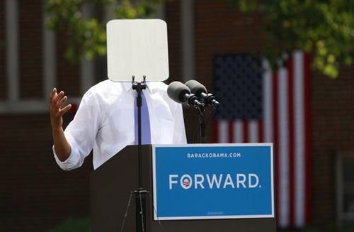 Teleprompter Obscures Obama